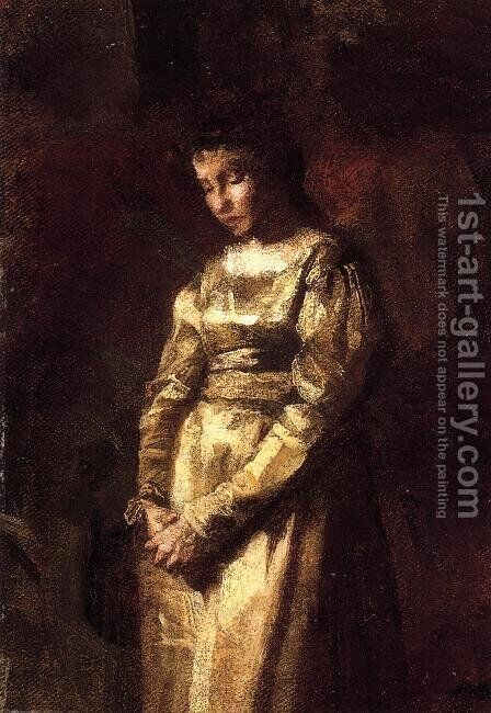 Young Girl Meditating (study) by Thomas Cowperthwait Eakins - Reproduction Oil Painting