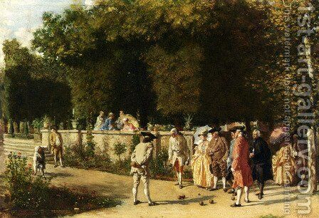 Playing Jeu De Boules by Jean-Louis-Ernest Meissonier - Reproduction Oil Painting