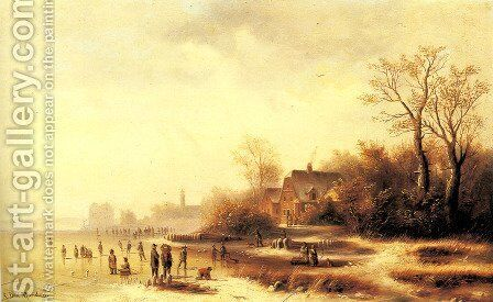 Figures in a Frozen Winter Landscape by Anton Doll - Reproduction Oil Painting