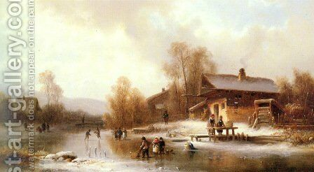 Skaters and Washerwomen in a Frozen Landscape by Anton Doll - Reproduction Oil Painting