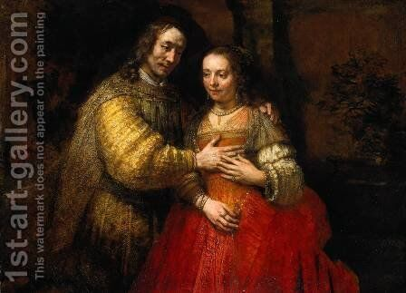 Portrait of Two Figures from the Old Testament, known as 'The Jewish Bride' by Rembrandt - Reproduction Oil Painting