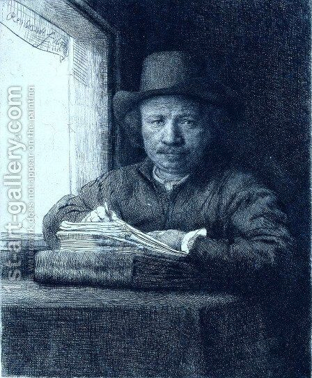 Rembrandt drawing at a window by Rembrandt - Reproduction Oil Painting