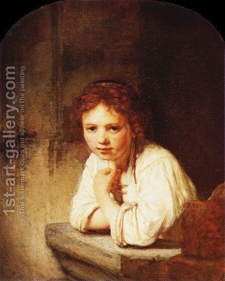 A Girl At A Window Painting By Rembrandt Reproduction 1st Art Gallery