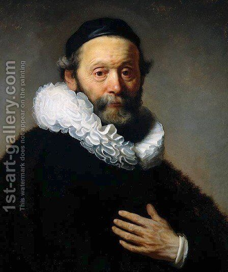 Johannes Wtenbogaert, Remonstrant Minister [detail #1] by Rembrandt - Reproduction Oil Painting