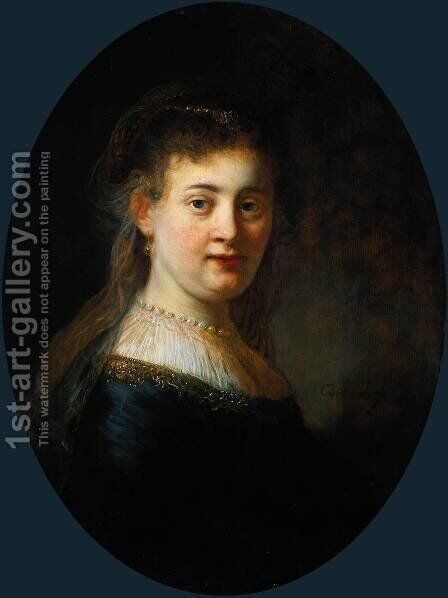 Portrait of Saskia van Uylenburgh (1612-1642) by Rembrandt - Reproduction Oil Painting