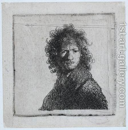 Self Portrait, Frowning by Rembrandt - Reproduction Oil Painting