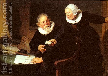 Jan Rijcksen and his Wife, Griet Jans ('The Shipbuilder and his Wife') by Rembrandt - Reproduction Oil Painting