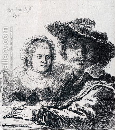 Self-portrait With Saskia by Rembrandt - Reproduction Oil Painting