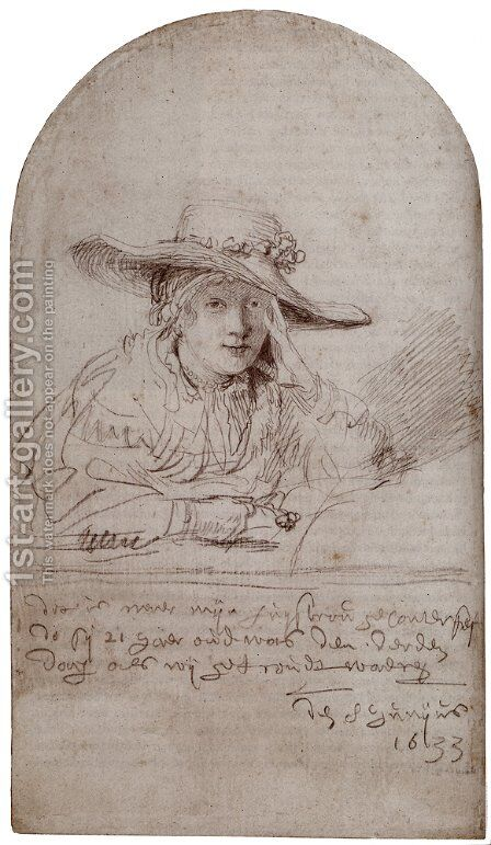 Saskia In A Straw Hat by Rembrandt - Reproduction Oil Painting