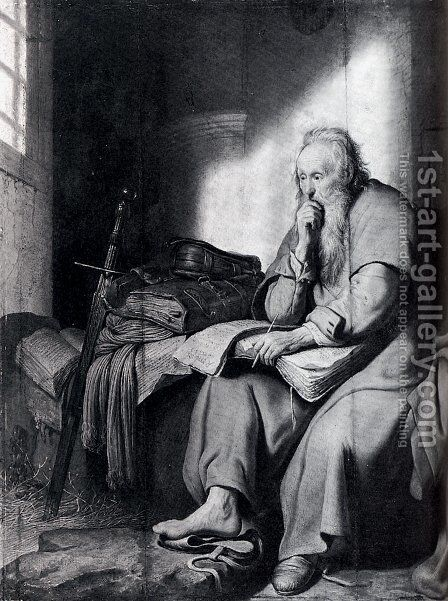 St. Paul In Prison by Rembrandt - Reproduction Oil Painting