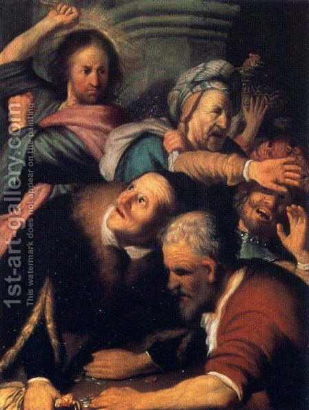Christ Driving The Money Changers From The Temple by Rembrandt - Reproduction Oil Painting