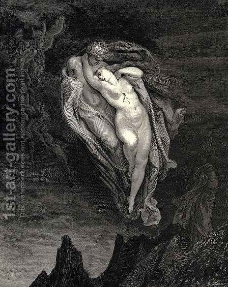 The Inferno, Canto 5, lines 72-74: 'Bard! willingly I would address those two together coming, Which seem so light before the wind.' by Gustave Dore - Reproduction Oil Painting