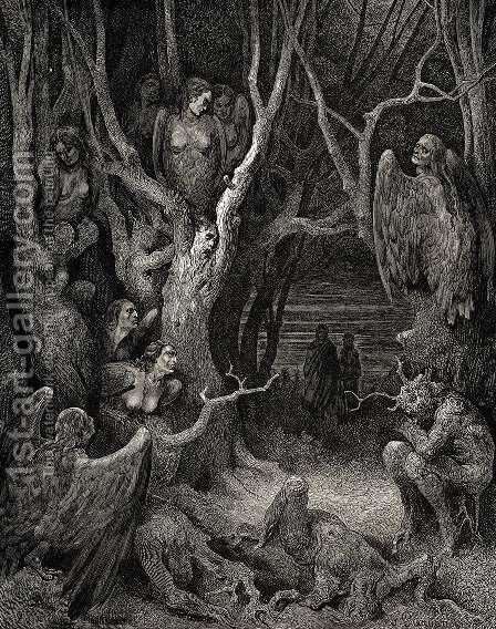 The Inferno, Canto 13, lines 11: Here the brute Harpies make their nest by Gustave Dore - Reproduction Oil Painting