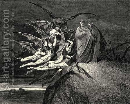 "The Inferno, Canto 21, line 70: ""Be none of you outrageous."" by Gustave Dore - Reproduction Oil Painting"