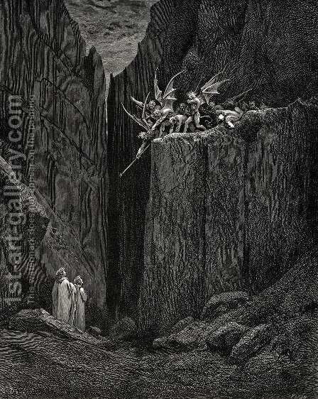 The Inferno, Canto 23, lines 52-54: Scarcely had his feet Reach'd to the lowest of the bed beneath, When over us the steep they reach'd by Gustave Dore - Reproduction Oil Painting