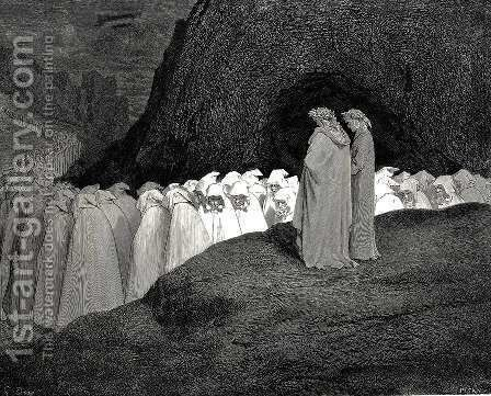 "The Inferno, Canto 23, lines 92-94: ""Tuscan, who visitest The college of the mourning hypocrites, Disdain not to instruct us who thou art."" by Gustave Dore - Reproduction Oil Painting"