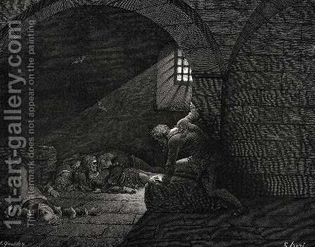 The Inferno, Canto 33, lines 73-74: Then fasting got The mastery of grief. by Gustave Dore - Reproduction Oil Painting