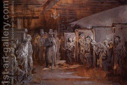 Tavern In Whitechapel by Gustave Dore - Reproduction Oil Painting