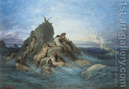 Les Océanides (Les Naiades de la mer) (Oceanides (Naïads of the Sea)) by Gustave Dore - Reproduction Oil Painting