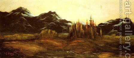 A Mountainous Landscape with a Balloon by Gustave Dore - Reproduction Oil Painting