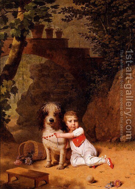 Portrait Of A Little Boy Placing A Coral Necklace On A Dog, Both Seated In A Parkland Setting by Martin Drolling - Reproduction Oil Painting