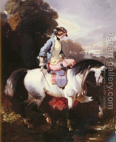 An Elegant Equestrienne by Alfred Dedreux - Reproduction Oil Painting