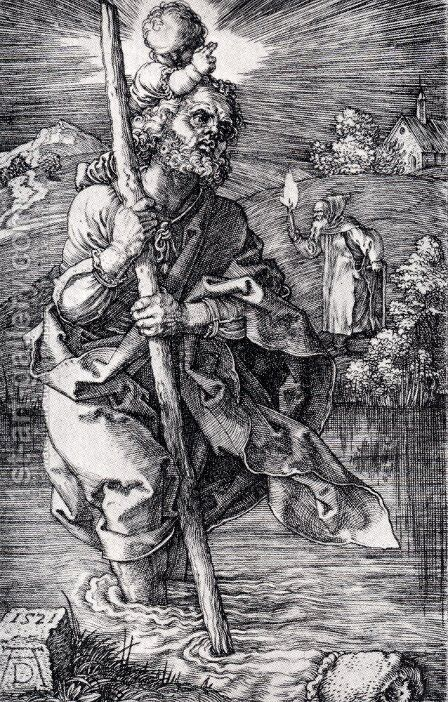 St. Christopher Facing To The Right by Albrecht Durer - Reproduction Oil Painting