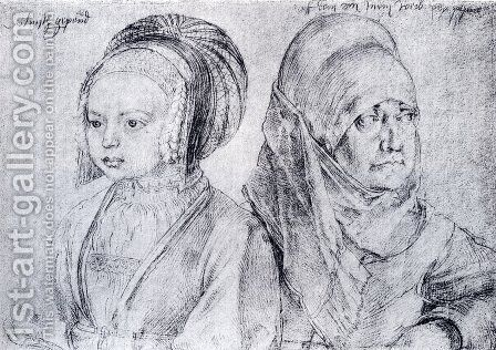 A Young Girl Of Cologne And Durer's Wife by Albrecht Durer - Reproduction Oil Painting