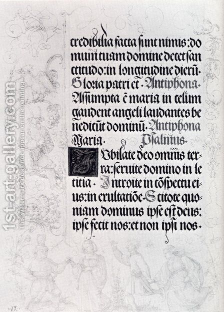Pages Of Marginal Drawings For Emperor Maximilian's Prayer Book (Pic1) by Albrecht Durer - Reproduction Oil Painting