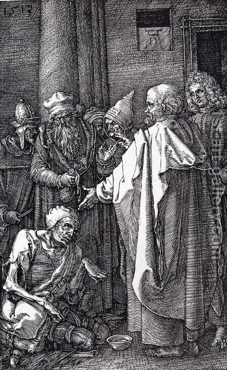 St. Peter And St. John Healing The Cripple by Albrecht Durer - Reproduction Oil Painting