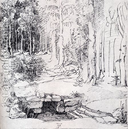 Forest Glade With A Walled Fountain By Which Two Men Are Sitting (or St. Anthony And St. Paul, Identified By The Flying Raven) by Albrecht Durer - Reproduction Oil Painting