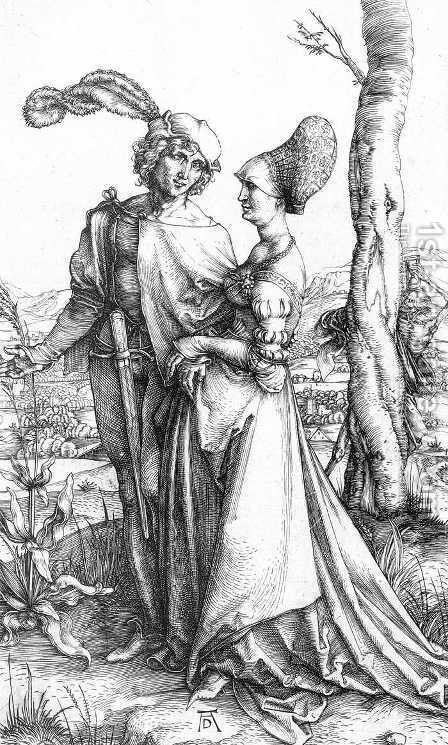 Young Couple Threatened By Death (or The Promenade) by Albrecht Durer - Reproduction Oil Painting