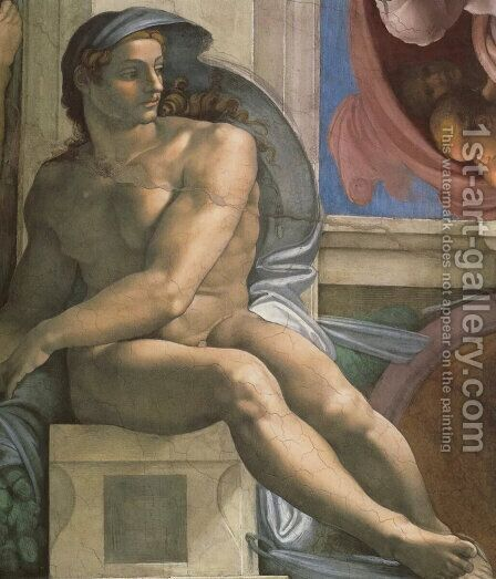 Ceiling of the Sistine Chapel: Ignudi, next to Separation of Land and the Persian Sybil [left] by Michelangelo - Reproduction Oil Painting
