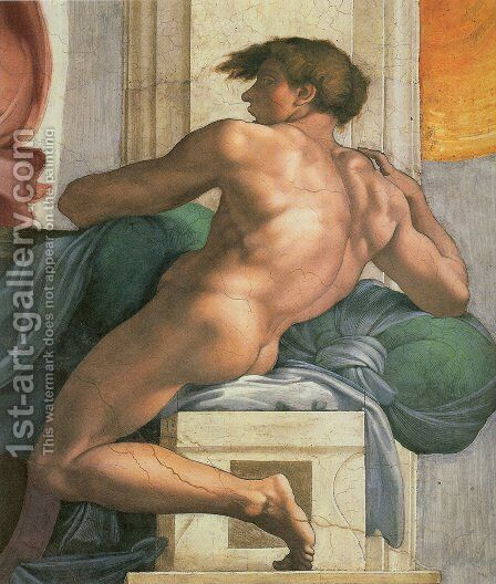 Ceiling of the Sistine Chapel: Ignudi, next to Separation of Land and the Persian Sybil [right] by Michelangelo - Reproduction Oil Painting