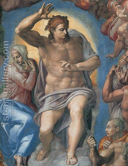 The Last Judgement: Christ the Judge by Michelangelo - Reproduction Oil Painting