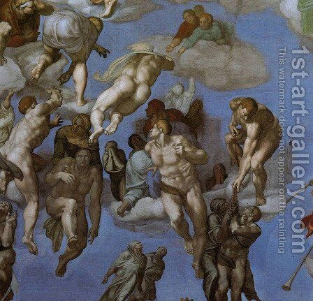 The Last Judgement [detail: 3] (or After restoration) by Michelangelo - Reproduction Oil Painting