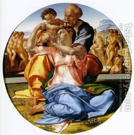 The Holy Family with the Infant John the Baptist (or The Doni tondo) by Michelangelo - Reproduction Oil Painting