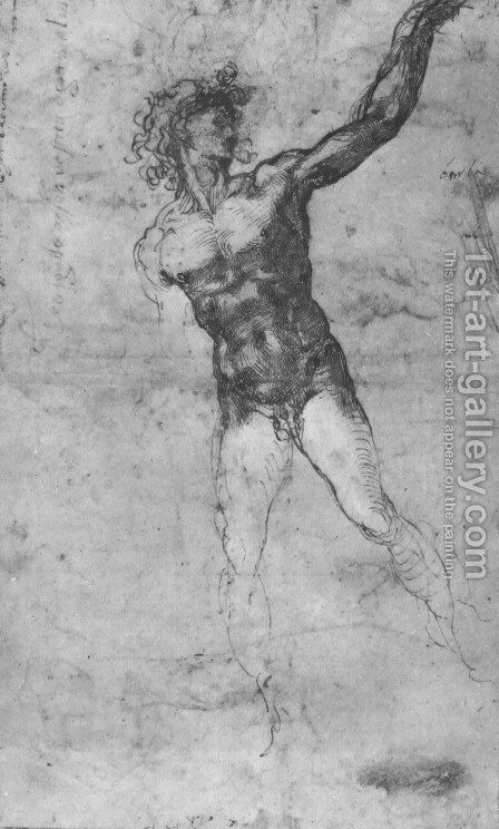 Male nude, study for the Battle of Cascina by Michelangelo - Reproduction Oil Painting