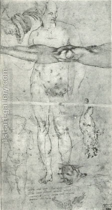 Various studies including a tracing from the other side of the sheet by Michelangelo - Reproduction Oil Painting