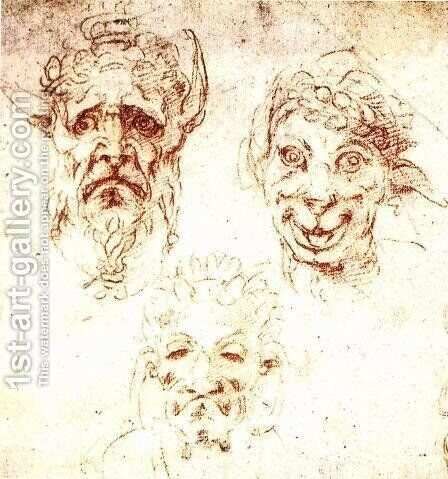 Studies of Grotesques by Michelangelo - Reproduction Oil Painting