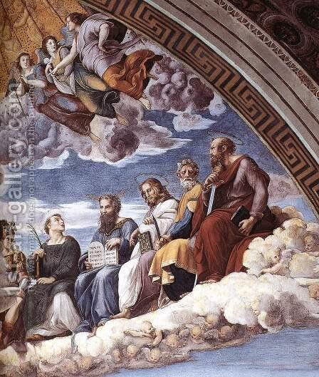 Disputation of the Holy Sacrament (La Disputa) [detail: 10] by Raphael - Reproduction Oil Painting