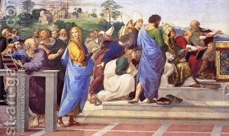 Disputation of the Holy Sacrament (La Disputa) [detail: 11] by Raphael - Reproduction Oil Painting