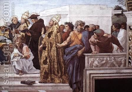 Disputation of the Holy Sacrament (La Disputa) [detail: 13] by Raphael - Reproduction Oil Painting