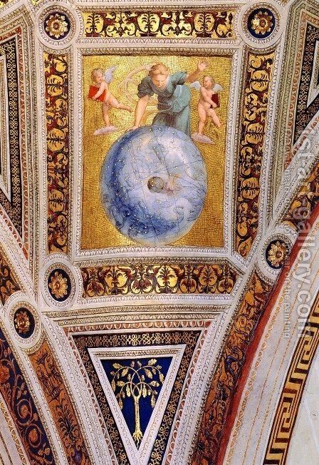 The Stanza della Segnatura Ceiling: Prime Mover [detail: 1] by Raphael - Reproduction Oil Painting