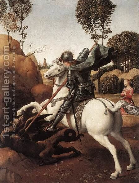 St George and the Dragon by Raphael - Reproduction Oil Painting