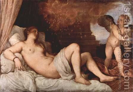 Danae and the Shower of Gold by Tiziano Vecellio (Titian) - Reproduction Oil Painting