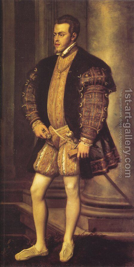 Portrait of Philip II by Tiziano Vecellio (Titian) - Reproduction Oil Painting