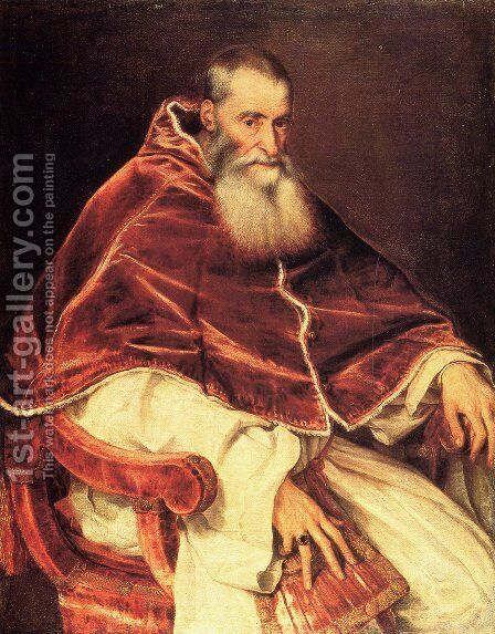 Pope Paul by Tiziano Vecellio (Titian) - Reproduction Oil Painting