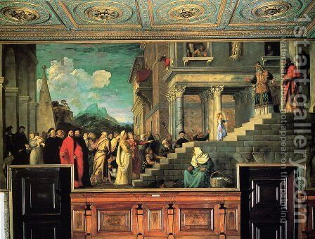 Entry of Mary into the temple by Tiziano Vecellio (Titian) - Reproduction Oil Painting