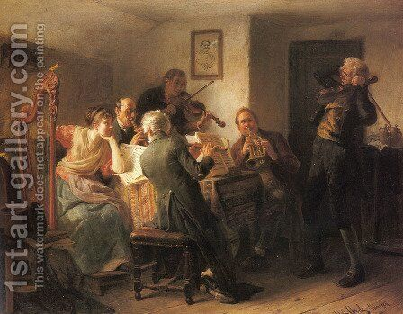 The Sour Note by Adolf Eberle - Reproduction Oil Painting
